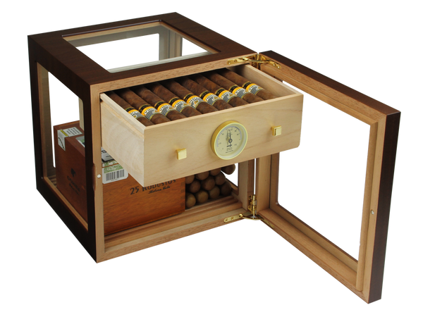 Foto_Adorini_Cube_Deluxe_Humidor_Farbe Braun_Front_Ansicht_offen