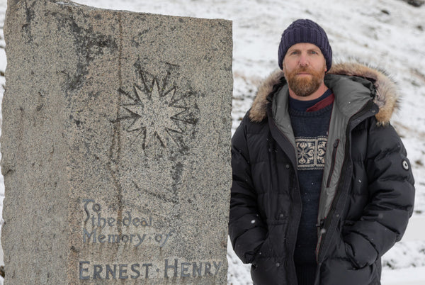 Marcus Brittain at Sir Ernest Shackleton's grave