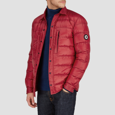 Red Lupoid goose down quilted jacket by Shackleton