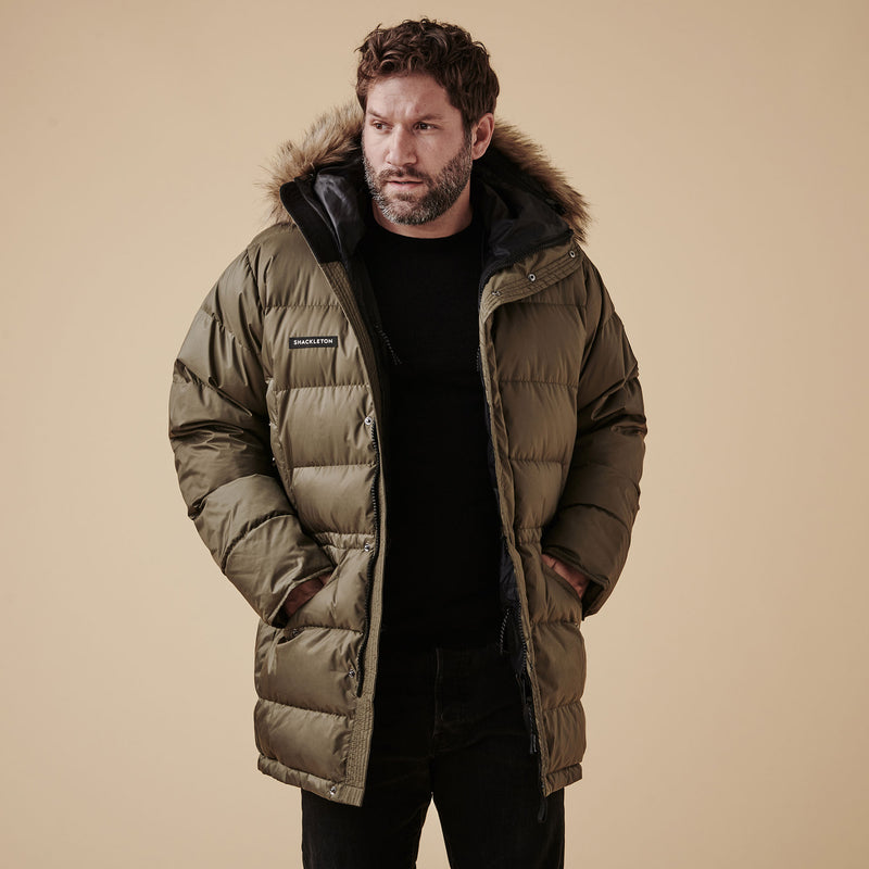 Shackleton Endurance Down Lightweight Parka Jacket | Olive Green