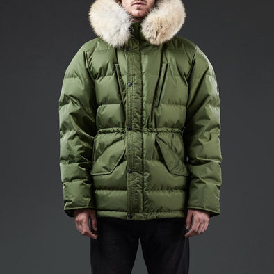 The Endurance quilted jacket by Shackleton Olive fur collar