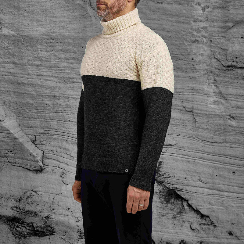 Shackleton Signature Lambswool Roll Neck Sweater | Cream/Charcoal