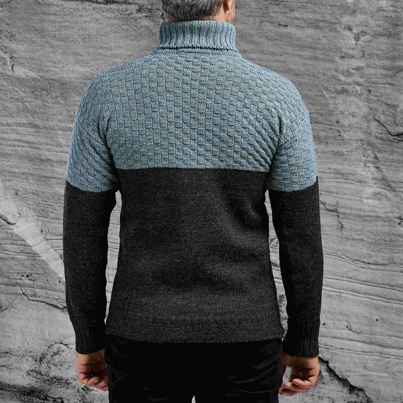 Shackleton Signature Lambswool Roll Neck Sweater | Light Blue/Charcoal