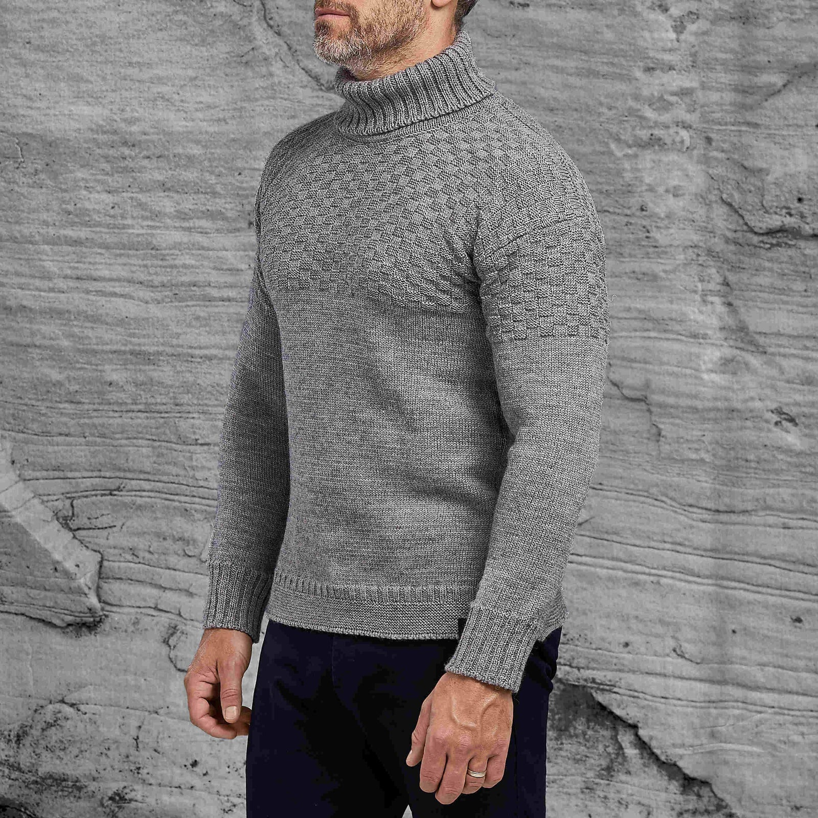 Signature roll neck sweater in light grey from Shackleton