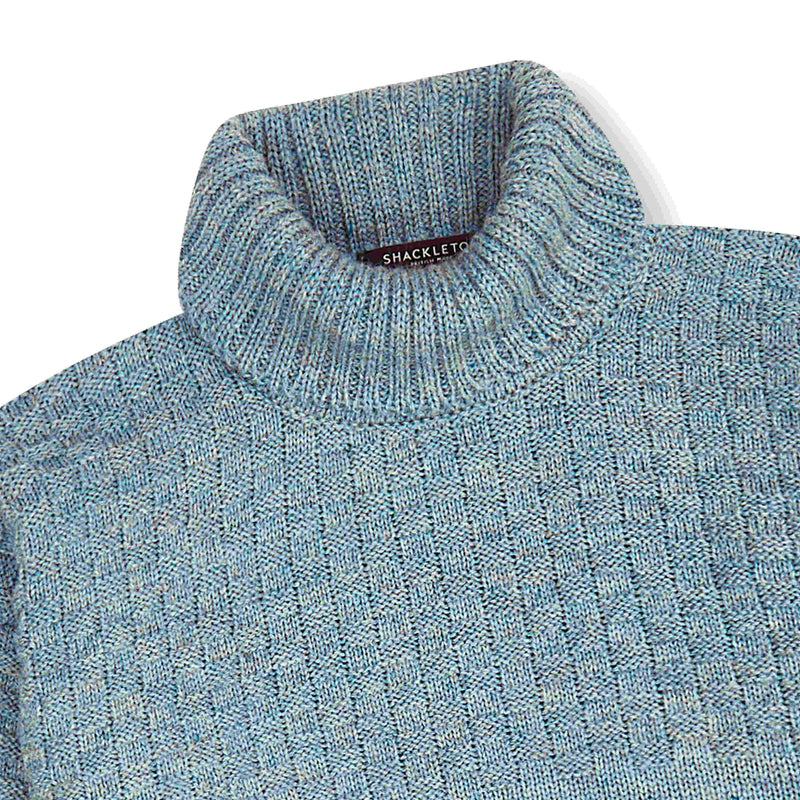 Shackleton Signature Lambswool Roll Neck Sweater | Light Blue