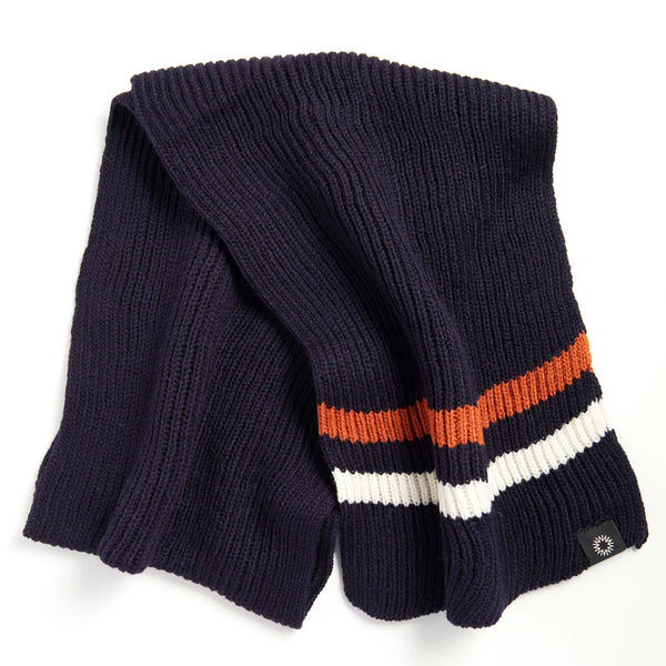Striped Merino Scarf | Navy