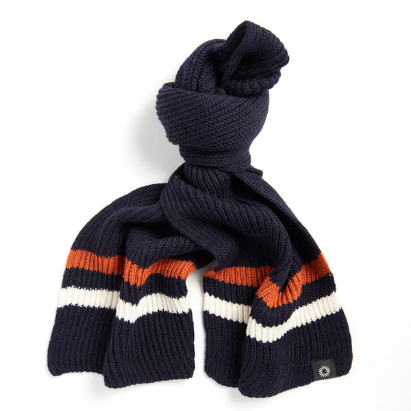 Shackleton Striped Merino Wool Scarf | Navy
