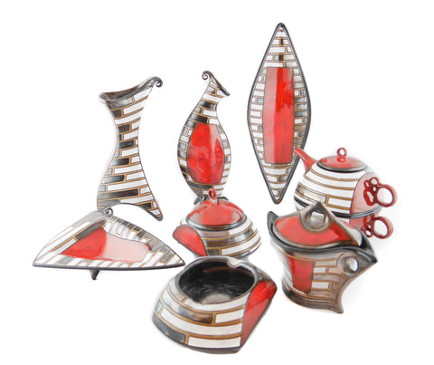 Ceramic Collection Red stripes from Tivelasi Pottery