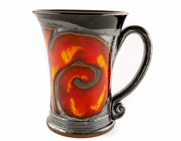 Handmade Pottery Mug 8.5oz with Red Fire Decoration - Handmade Ceramics and pottery | Teapots, Coffee and Tea Mugs, Vases, Bowls, Plates, Ashtrays | Handmade stoneware - 1