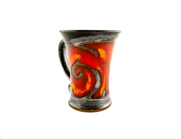 Handmade Pottery Mug 8.5oz with Red Fire Decoration - Handmade Ceramics and pottery | Teapots, Coffee and Tea Mugs, Vases, Bowls, Plates, Ashtrays | Handmade stoneware - 2