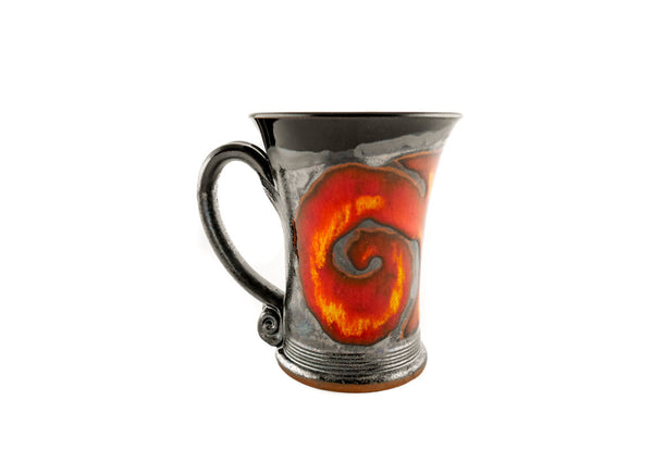 Handmade Pottery Mug 8.5oz with Red Fire Decoration - Handmade Ceramics and pottery | Teapots, Coffee and Tea Mugs, Vases, Bowls, Plates, Ashtrays | Handmade stoneware - 3