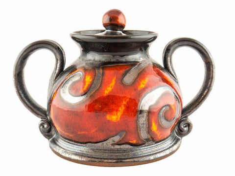 "Handmade Ceramic Sugar Bowl 4"" Fire - Handmade Ceramics and pottery 