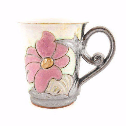 Handmade Pottery Coffee Mug 6.7oz Flower - Handmade Ceramics and pottery | Teapots, Coffee and Tea Mugs, Vases, Bowls, Plates, Ashtrays | Handmade stoneware - 1