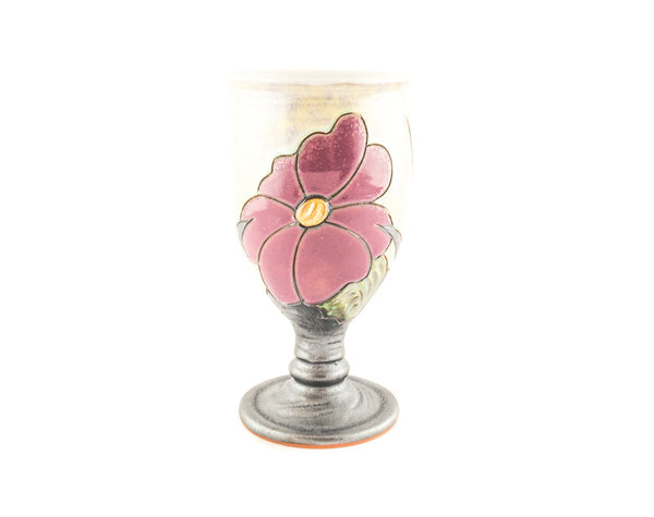 Handmade Ceramic Wine Goblet 11.8oz Flower - Handmade Ceramics and pottery | Teapots, Coffee and Tea Mugs, Vases, Bowls, Plates, Ashtrays | Handmade stoneware - 3