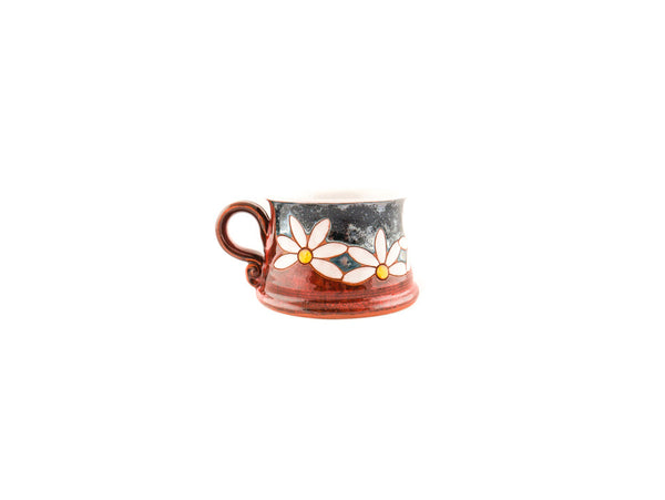 Handmade Pottery Coffee Mug 8.5oz with Daisy - Handmade Ceramics and pottery | Teapots, Coffee and Tea Mugs, Vases, Bowls, Plates, Ashtrays | Handmade stoneware - 2
