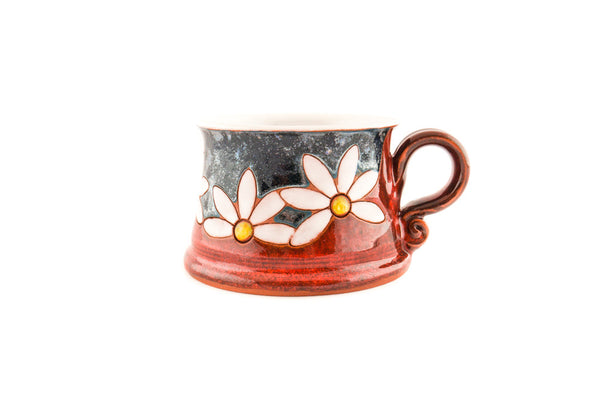 Handmade Pottery Coffee Mug 8.5oz with Daisy - Handmade Ceramics and pottery | Teapots, Coffee and Tea Mugs, Vases, Bowls, Plates, Ashtrays | Handmade stoneware - 5