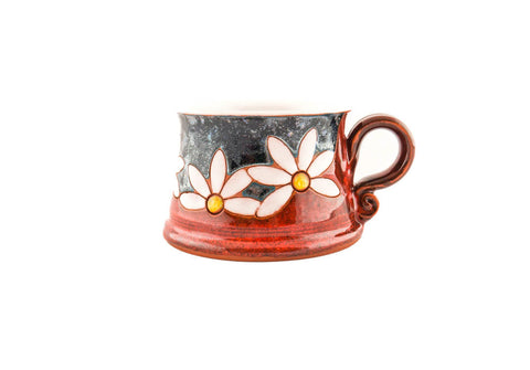 Handmade Pottery Coffee Mug 8.5oz with Daisy - Handmade Ceramics and pottery | Teapots, Coffee and Tea Mugs, Vases, Bowls, Plates, Ashtrays | Handmade stoneware - 1