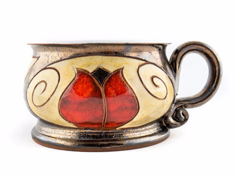 Handmade Pottery Mug 8.5oz Tulip - Handmade Ceramics and pottery | Teapots, Coffee and Tea Mugs, Vases, Bowls, Plates, Ashtrays | Handmade stoneware - 1
