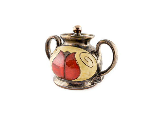 "Ceramic Sugar Bowl With Lid 4"" Tulip - Handmade Ceramics and pottery 