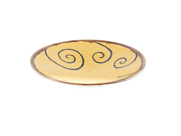 "Handmade Round Ceramic Plate 9"" Gold - Handmade Ceramics and pottery 