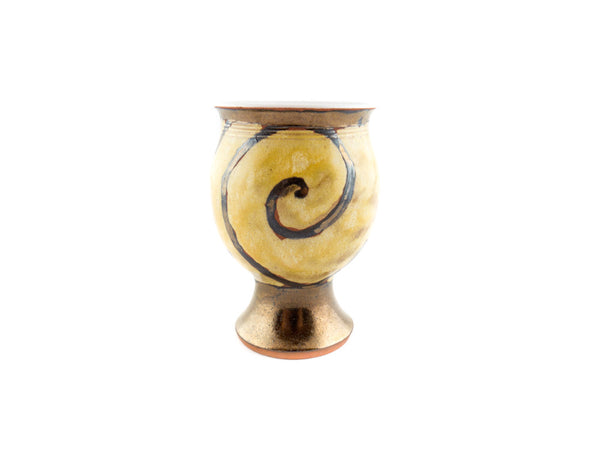Handmade Pottery Wine Goblet 9oz Gold - Handmade Ceramics and pottery | Teapots, Coffee and Tea Mugs, Vases, Bowls, Plates, Ashtrays | Handmade stoneware - 4
