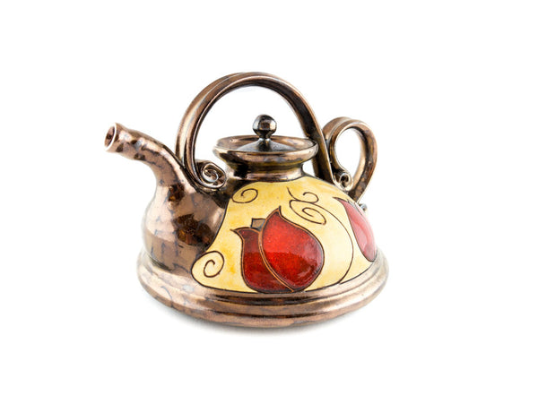 Pottery teapot with tulip decoration