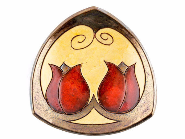 "Raised Ceramic Triangle small bowl 5.9"" Tulip - Handmade Ceramics and pottery 
