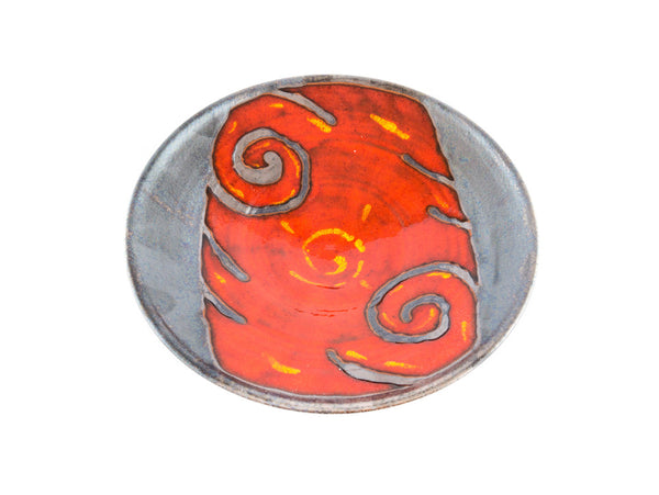 "Handmade Round Ceramic Plate / Serving Platter 9"" Fire - Handmade Ceramics and pottery 