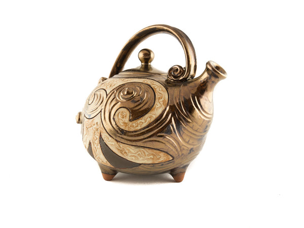Handmade Ceramic Teapot 37oz Antique - Handmade Ceramics and pottery | Teapots, Coffee and Tea Mugs, Vases, Bowls, Plates, Ashtrays | Handmade stoneware - 3