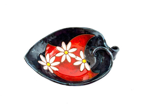"Handmade Ceramic Leaf Bowl 7.5"" Daisy - Handmade Ceramics and pottery 