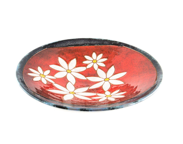 "Handmade Pottery Fruit Plate 9"" Daisy - Handmade Ceramics and pottery 