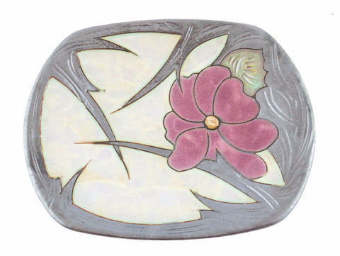 "Handmade Ceramic Fruit Plate 9"" Flower - Handmade Ceramics and pottery 
