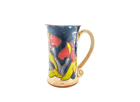 Handmade Pottery Mug 8.5oz with Calla decoration - Handmade Ceramics and pottery | Teapots, Coffee and Tea Mugs, Vases, Bowls, Plates, Ashtrays | Handmade stoneware - 1