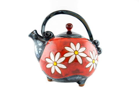 Handmade Ceramic Teapot 37oz Daisy - Handmade Ceramics and pottery | Teapots, Coffee and Tea Mugs, Vases, Bowls, Plates, Ashtrays | Handmade stoneware - 1