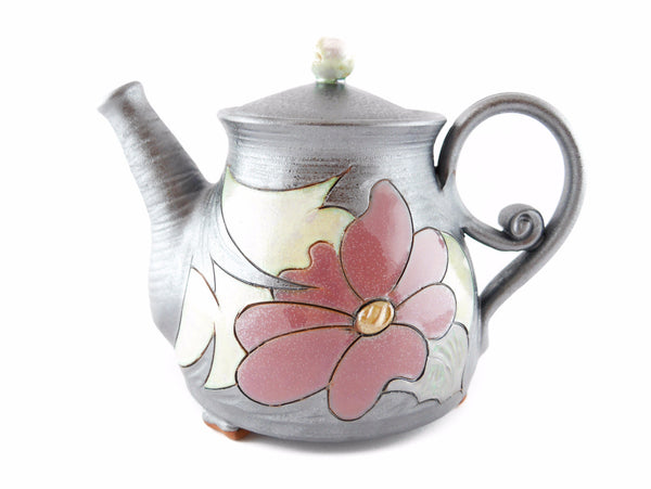 Wheel Thrown Pottery Teapot 34oz Flower - Handmade Ceramics and pottery | Teapots, Coffee and Tea Mugs, Vases, Bowls, Plates, Ashtrays | Handmade stoneware