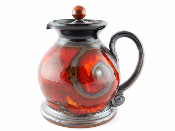 Handmade Pottery Creamer with lid 8.5oz Fire - Handmade Ceramics and pottery | Teapots, Coffee and Tea Mugs, Vases, Bowls, Plates, Ashtrays | Handmade stoneware - 1