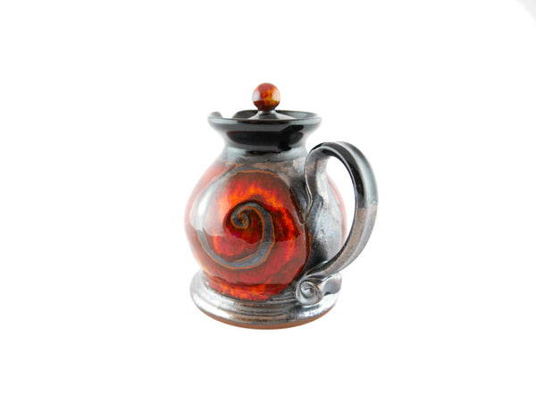 Handmade Pottery Creamer with lid 8.5oz Fire - Handmade Ceramics and pottery | Teapots, Coffee and Tea Mugs, Vases, Bowls, Plates, Ashtrays | Handmade stoneware - 3