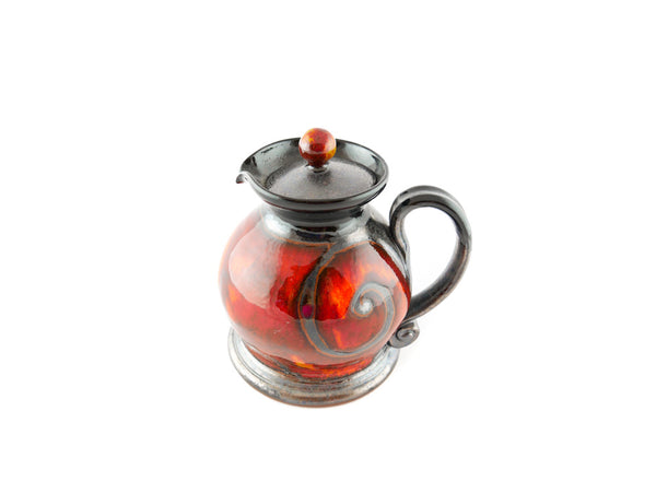 Handmade Pottery Creamer with lid 8.5oz Fire - Handmade Ceramics and pottery | Teapots, Coffee and Tea Mugs, Vases, Bowls, Plates, Ashtrays | Handmade stoneware - 2