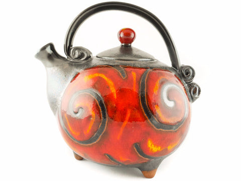 Handmade Ceramic Teapot 37oz Fire - Handmade Ceramics and pottery | Teapots, Coffee and Tea Mugs, Vases, Bowls, Plates, Ashtrays | Handmade stoneware - 1