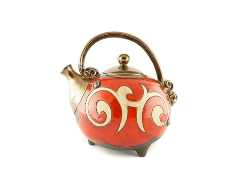 Handmade Ceramic Teapot 37oz Red Orient - Handmade Ceramics and pottery | Teapots, Coffee and Tea Mugs, Vases, Bowls, Plates, Ashtrays | Handmade stoneware - 1