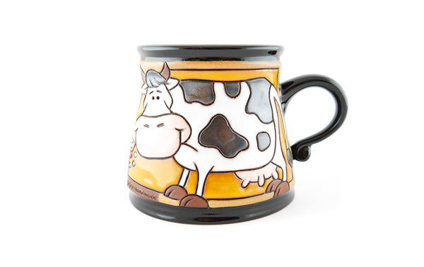 Handmade Pottery Animal Mug 12oz Eating Cow Mug - Handmade Ceramics and pottery | Teapots, Coffee and Tea Mugs, Vases, Bowls, Plates, Ashtrays | Handmade stoneware - 1