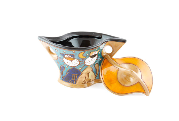 Lazy Cats Sugar Bowl with Lid - Handmade Ceramics and pottery | Teapots, Coffee and Tea Mugs, Vases, Bowls, Plates, Ashtrays | Handmade stoneware - 2