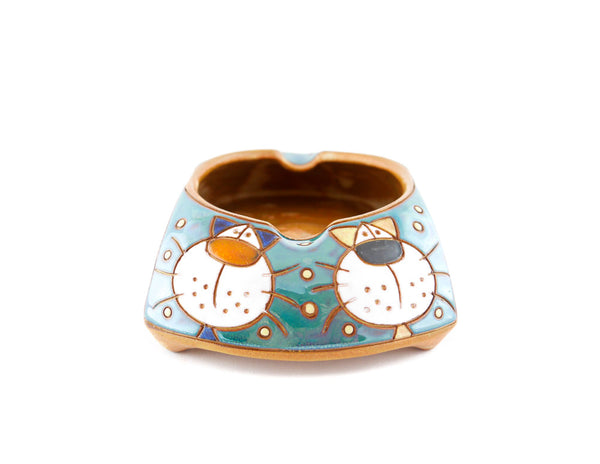 "Ceramic Ashtray with two Lazy cats 6"" - Handmade Ceramics and pottery 