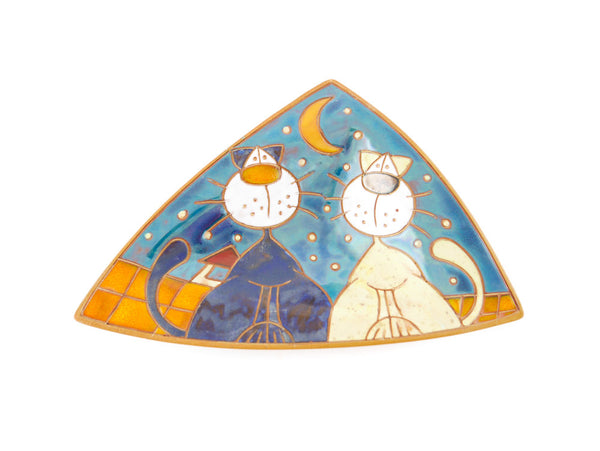 "Ceramic Triangle Plate with two cats 9"" - Handmade Ceramics and pottery 
