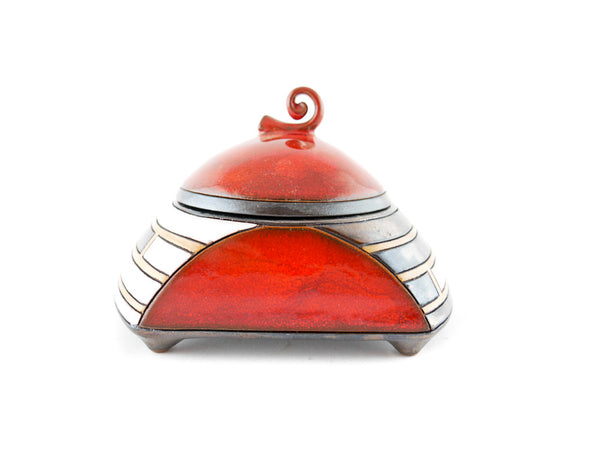 Piano Red Sugar Bowl - Handmade Ceramics and pottery | Teapots, Coffee and Tea Mugs, Vases, Bowls, Plates, Ashtrays | Handmade stoneware - 2
