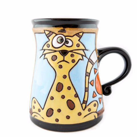 Handmade Pottery Animal Mug 11oz Cheetah Mug - Handmade Ceramics and pottery | Teapots, Coffee and Tea Mugs, Vases, Bowls, Plates, Ashtrays | Handmade stoneware - 1