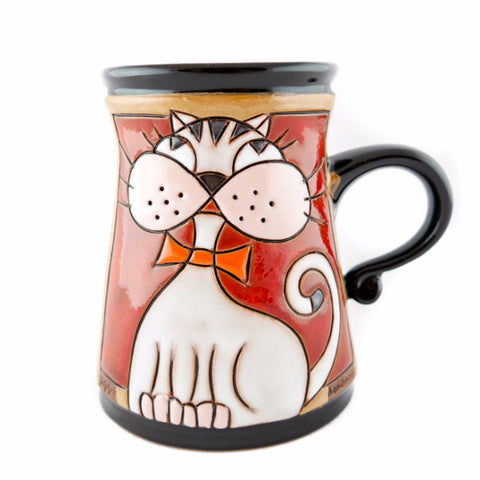 Handmade Pottery Animal Mug 11oz Cat Mug with Bow tie - Handmade Ceramics and pottery | Teapots, Coffee and Tea Mugs, Vases, Bowls, Plates, Ashtrays | Handmade stoneware - 1