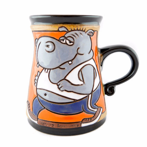 Handmade Pottery Animal Mug 11oz Hippo Mug - Handmade Ceramics and pottery | Teapots, Coffee and Tea Mugs, Vases, Bowls, Plates, Ashtrays | Handmade stoneware - 1
