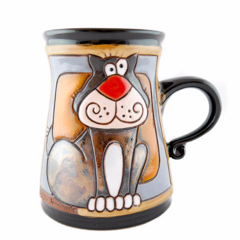 Handmade Pottery Animal Mug 11oz Grey Cat Mug - Handmade Ceramics and pottery | Teapots, Coffee and Tea Mugs, Vases, Bowls, Plates, Ashtrays | Handmade stoneware - 1