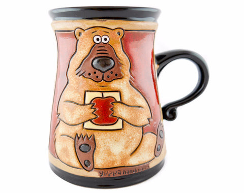 Handmade Pottery Animal Mug 11oz Bear Mug with red apple - Handmade Ceramics and pottery | Teapots, Coffee and Tea Mugs, Vases, Bowls, Plates, Ashtrays | Handmade stoneware - 1